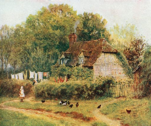 A Cottage at Hambledon. Illustration for Happy England by Marcus B Huish (A & C Black, 1909).