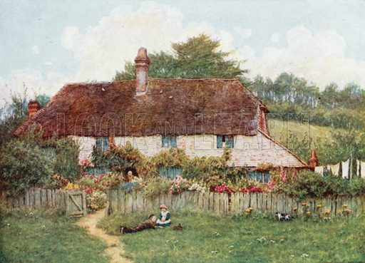 Cottage at Shottermill, near Haslemere. Illustration for Happy England by Marcus B Huish (A & C Black, 1909).