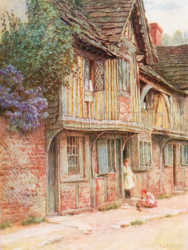 An Old House at West Tarring. Illustration for Happy England by Marcus B Huish (A & C Black, 1909).