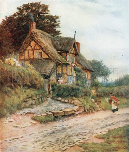 A Cheshire Cottage, Alderley Edge. Illustration for Happy England by Marcus B Huish (A & C Black, 1909).