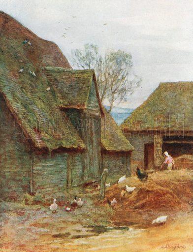 A Kentish Farmyard. Illustration for Happy England by Marcus B Huish (A & C Black, 1909).