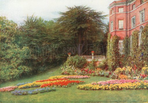 By the Terrace, Brocket Hall. Illustration for Happy England by Marcus B Huish (A & C Black, 1909).