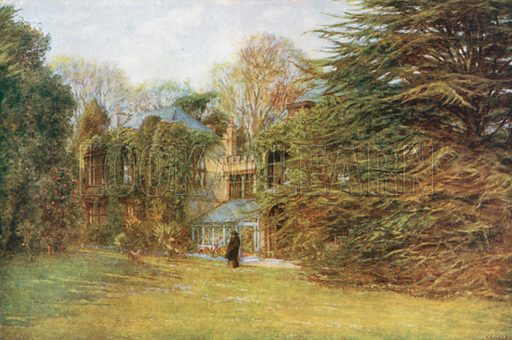 The House, Farringford. Illustration for Happy England by Marcus B Huish (A & C Black, 1909).