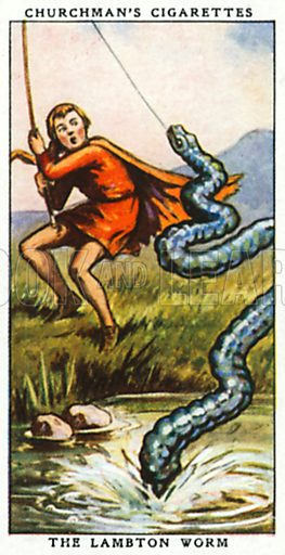 The Lambton Worm. Cigarette card from the Churchman Legends of Britain series, early 20th century.