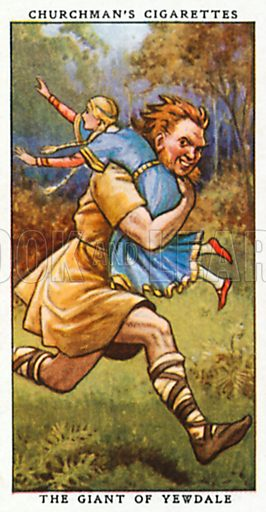 The Giant of Yewdale. Cigarette card from the Churchman Legends of Britain series, early 20th century.