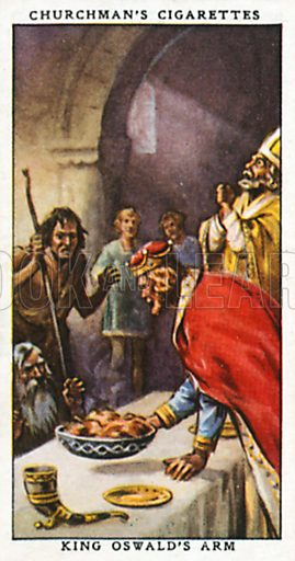 King Oswald's Arm. Cigarette card from the Churchman Legends of Britain series, early 20th century.