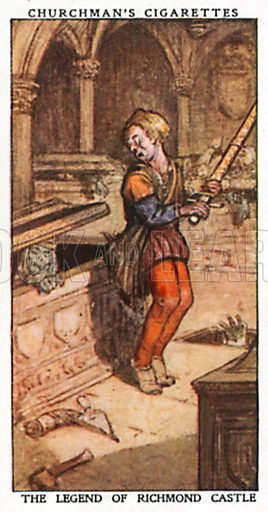 The Legend of Richmond Castle. Cigarette card from the Churchman Legends of Britain series, early 20th century.