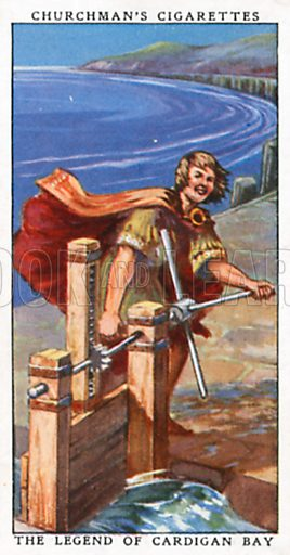 The Legend of Cardigan Bay. Cigarette card from the Churchman Legends of Britain series, early 20th century.