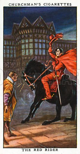 The Red Rider. Cigarette card from the Churchman Legends of Britain series, early 20th century.