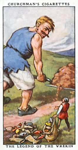The Legend of the Wrekin. Cigarette card from the Churchman Legends of Britain series, early 20th century.