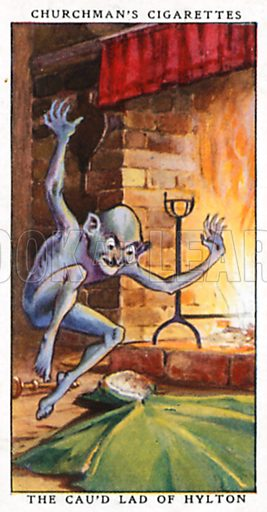 The Cau'd Lad of Hylton. Cigarette card from the Churchman Legends of Britain series, early 20th century.
