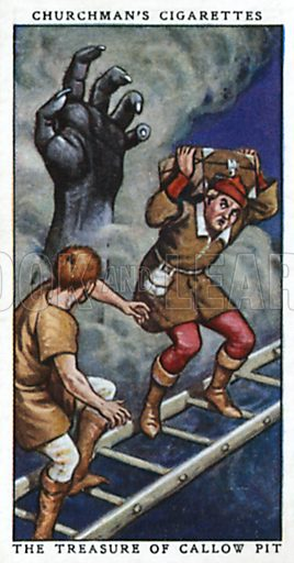 The Treasure of Callow Pit. Cigarette card from the Churchman Legends of Britain series, early 20th century.
