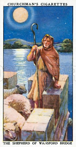 The Shepherd of Wansford Bridge. Cigarette card from the Churchman Legends of Britain series, early 20th century.