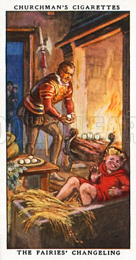 The Fairies' Changeling. Cigarette card from the Churchman Legends of Britain series, early 20th century.