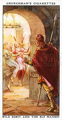 Wild Edric and the Elf Maiden. Cigarette card from the Churchman Legends of Britain series, early 20th century.