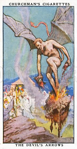 The Devil's Arrows. Cigarette card from the Churchman Legends of Britain series, early 20th century.