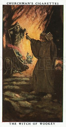 The Witch of Wookey. Cigarette card from the Churchman Legends of Britain series, early 20th century.