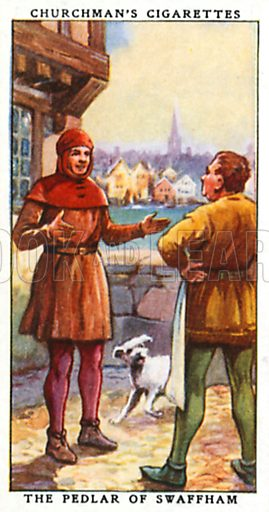 The Pedlar of Swaffham. Cigarette card from the Churchman Legends of Britain series, early 20th century.