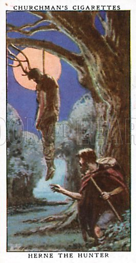 Herne the Hunter. Cigarette card from the Churchman Legends of Britain series, early 20th century.