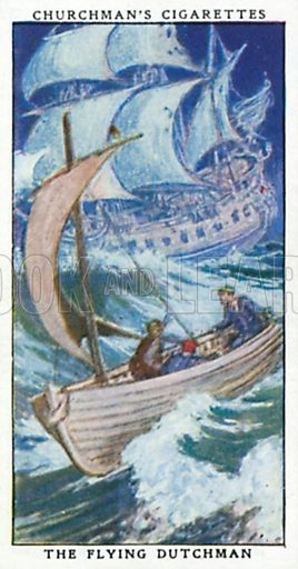 The Flying Dutchman. Cigarette card from the Churchman Legends of Britain series, early 20th century.