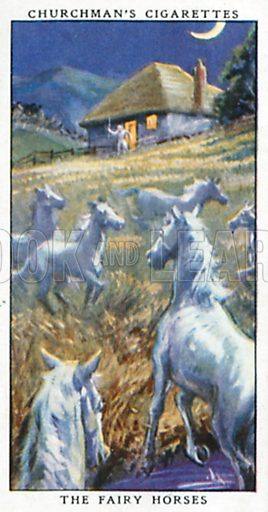The Fairy Horses. Cigarette card from the Churchman Legends of Britain series, early 20th century.
