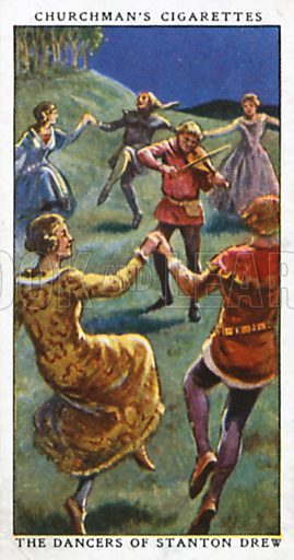 The Dancers of Stanton Drew. Cigarette card from the Churchman Legends of Britain series, early 20th century.