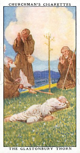 The Glastonbury Thorn. Cigarette card from the Churchman Legends of Britain series, early 20th century.