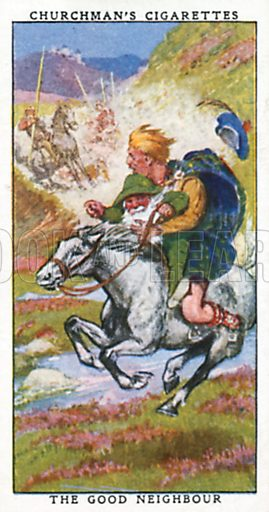 The Good Neighbour. Cigarette card from the Churchman Legends of Britain series, early 20th century.