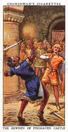 The Bowmen of Findhaven Castle. Cigarette card from the Churchman Legends of Britain series, early 20th century.