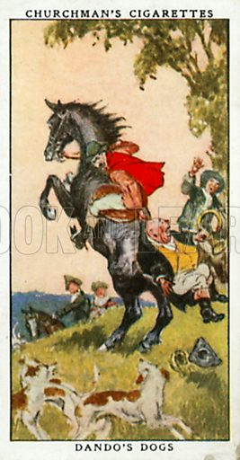 Dando's Dogs. Cigarette card from the Churchman Legends of Britain series, early 20th century.