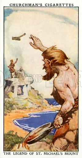 The Legend of St. Michael's Mount. Cigarette card from the Churchman Legends of Britain series, early 20th century.
