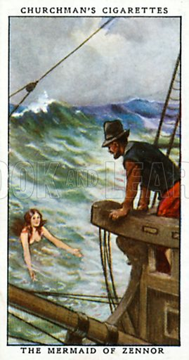 The Mermaid of Zennor. Cigarette card from the Churchman Legends of Britain series, early 20th century.