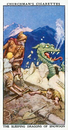 The Sleeping Dragons of Snowdon. Cigarette card from the Churchman Legends of Britain series, early 20th century.