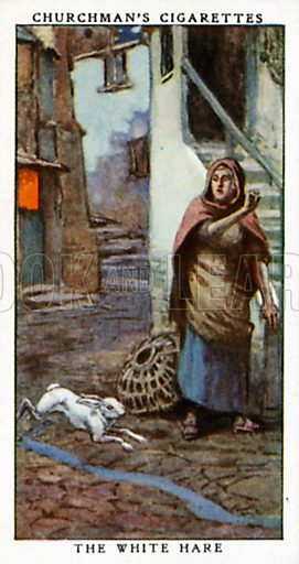 The White Hare. Cigarette card from the Churchman Legends of Britain series, early 20th century.