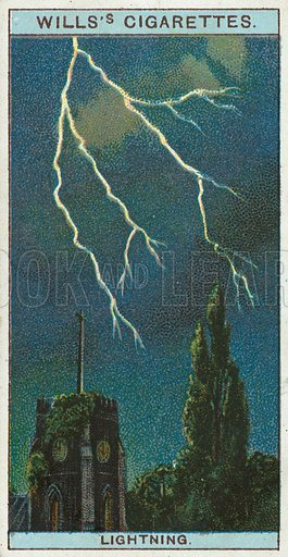 Lightning. Illustration from Wills's Do You Know cigarette card series, early 20th century.