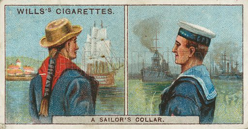 A Sailor's Collar. Illustration from Wills's Do You Know cigarette card series, early 20th century.