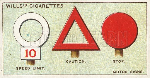Motor Signs. Illustration from Wills's Do You Know cigarette card series, early 20th century.