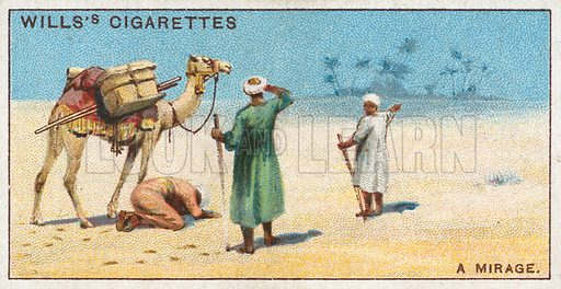 A Mirage. Illustration from Wills's Do You Know cigarette card series, early 20th century.
