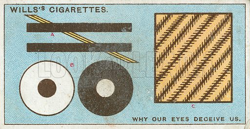 Why our Eyes Deceive us. Illustration from Wills's Do You Know cigarette card series, early 20th century.