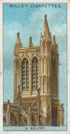 A Belfry. Illustration from Wills's Do You Know cigarette card series, early 20th century.