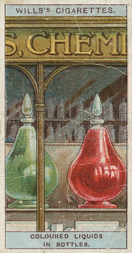 Coloured Liquids in Bottles. Illustration from Wills's Do You Know cigarette card series, early 20th century.
