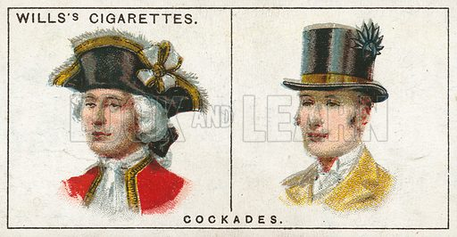 Cockades. Illustration from Wills's Do You Know cigarette card series, early 20th century.