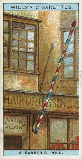 A Barber's Pole. Illustration from Wills's Do You Know cigarette card series, early 20th century.