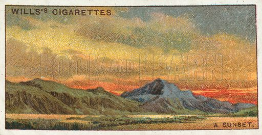 A Sunset. Illustration from Wills's Do You Know cigarette card series, early 20th century.