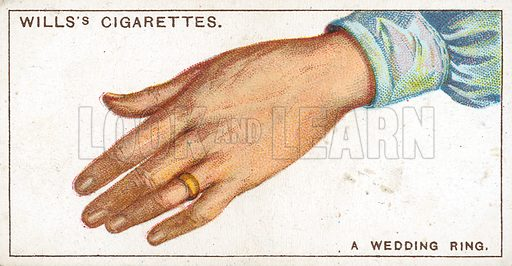 A Wedding Ring. Illustration from Wills's Do You Know cigarette card series, early 20th century.