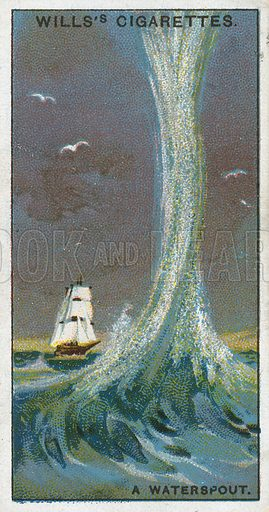 A Waterspout. Illustration from Wills's Do You Know cigarette card series, early 20th century.