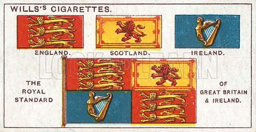 The Royal Standard of Great Britain & Ireland. Illustration from Wills's Do You Know cigarette card series, early 20th century.