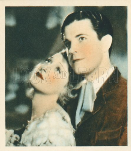 Ramon Novarro and Jeanette Macdonald.  Shots from the Films.  Early 20th century cigarette card by Godfrey Phillips.