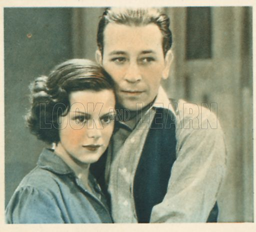 Helen Mack and George Raft. Shots from the Films.  Early 20th century cigarette card by Godfrey Phillips.