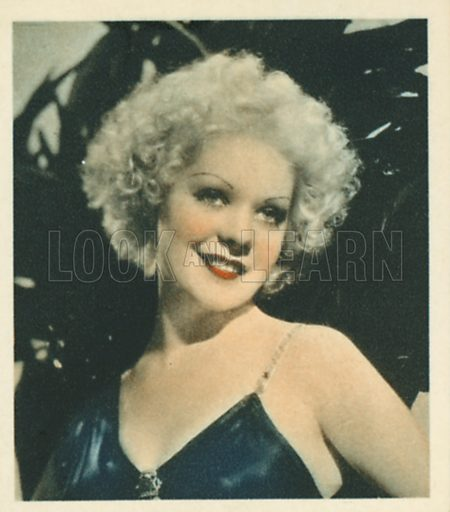 Alice Faye. Shots from the Films.  Early 20th century cigarette card by Godfrey Phillips.